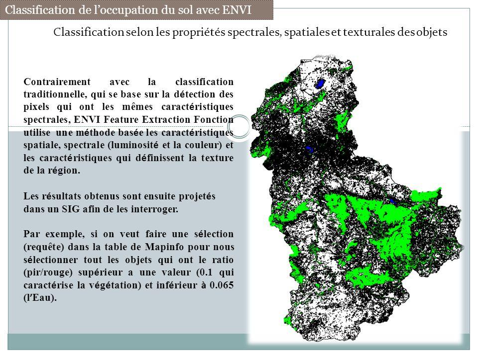 Classification de loccupation du sol avec ENVI Classification selon les propriétés spectrales, spatiales et texturales des objets Contrairement avec l