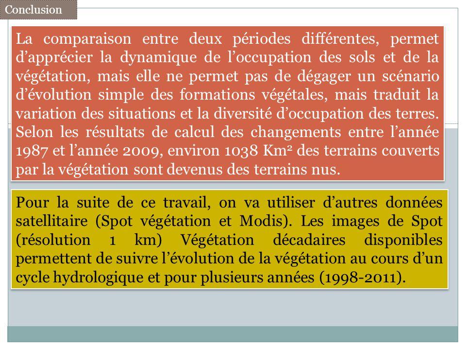 La comparaison entre deux périodes différentes, permet dapprécier la dynamique de loccupation des sols et de la végétation, mais elle ne permet pas de
