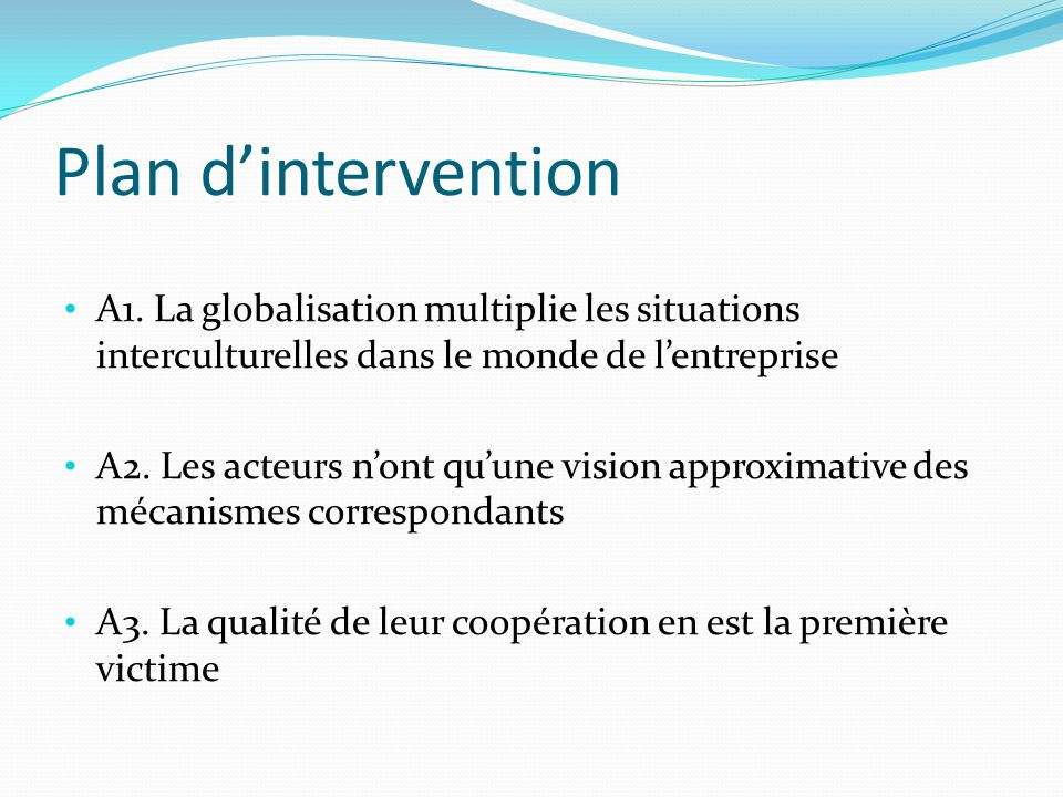 Plan dintervention A1.
