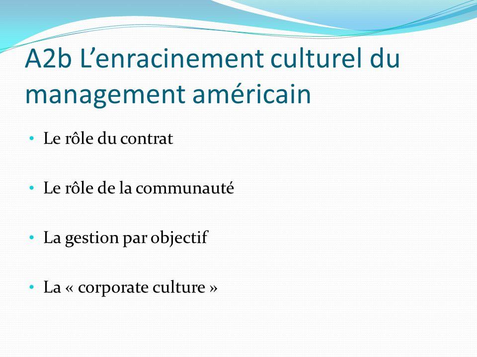A2b Lenracinement culturel du management américain Le rôle du contrat Le rôle de la communauté La gestion par objectif La « corporate culture »