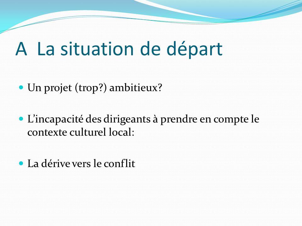 A La situation de départ Un projet (trop ) ambitieux.