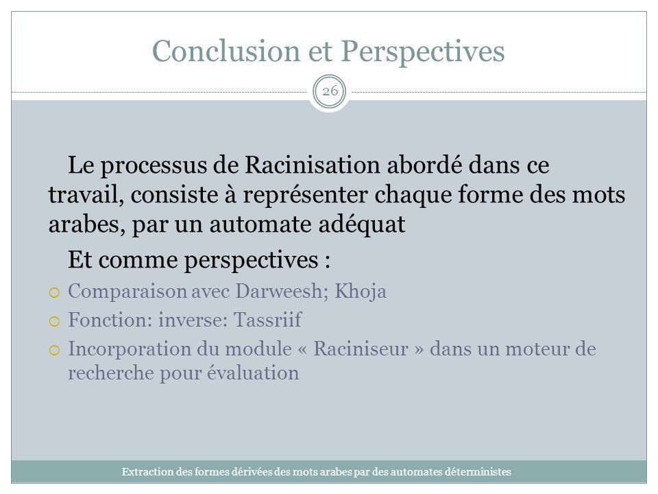 Conclusion et Perspectives Extraction des formes dérivées des mots arabes par des automates déterministes 26 Le processus de Racinisation abordé dans