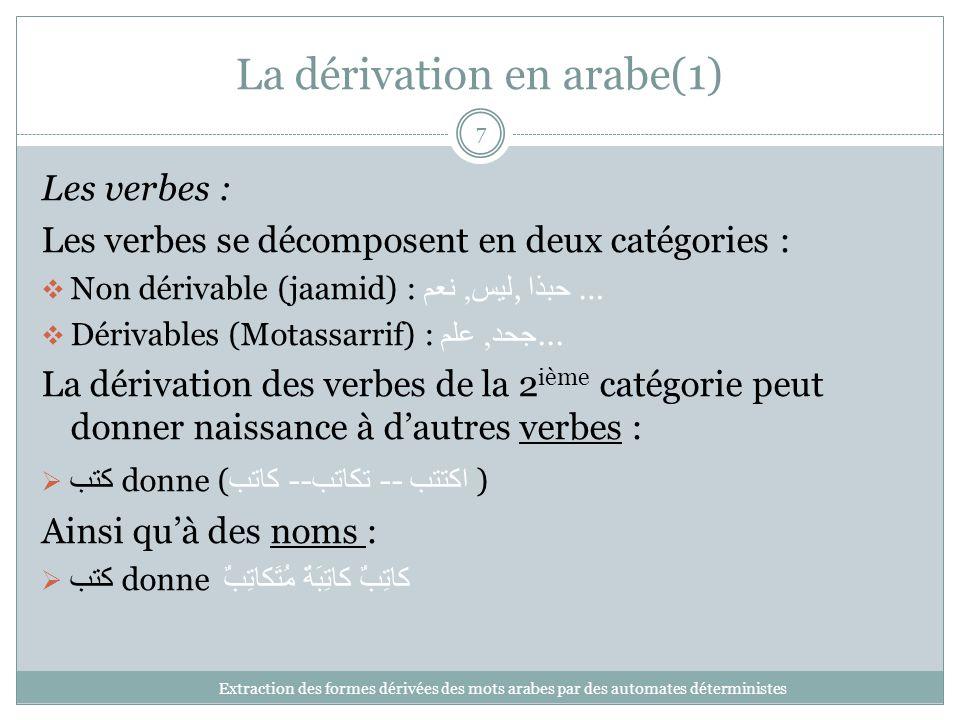 La dérivation en arabe(1) Extraction des formes dérivées des mots arabes par des automates déterministes 7 Les verbes : Les verbes se décomposent en d