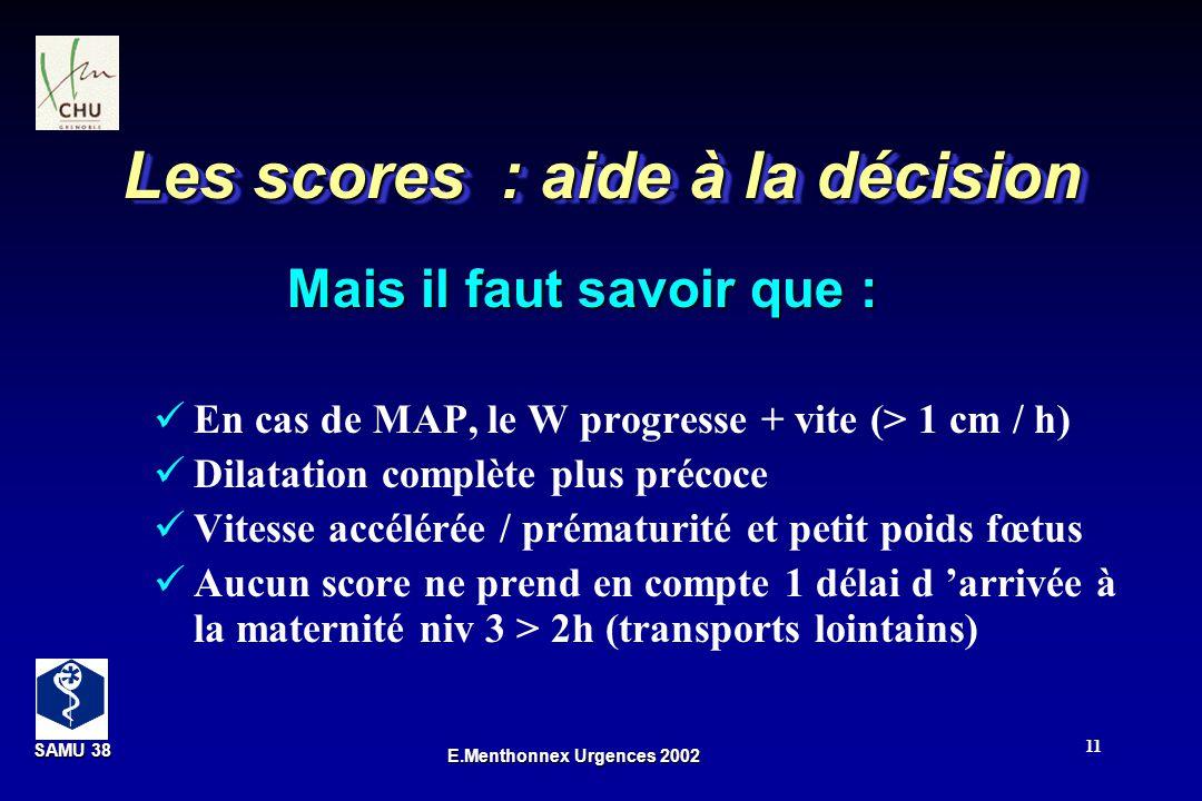 SAMU 38 SAMU 38 E.Menthonnex Urgences 2002 11 Les scores : aide à la décision En cas de MAP, le W progresse + vite (> 1 cm / h) Dilatation complète pl