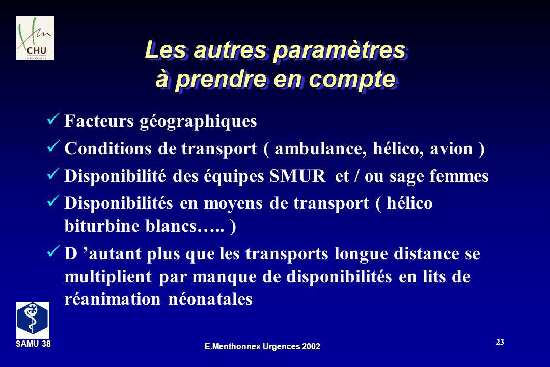SAMU 38 SAMU 38 E.Menthonnex Urgences 2002 23 Les autres paramètres à prendre en compte Facteurs géographiques Conditions de transport ( ambulance, hé
