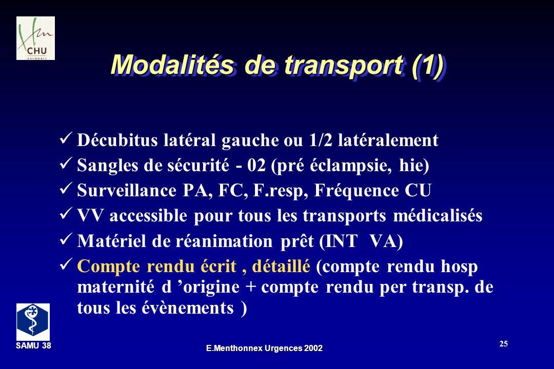 SAMU 38 SAMU 38 E.Menthonnex Urgences 2002 25 Modalités de transport (1) Décubitus latéral gauche ou 1/2 latéralement Sangles de sécurité - 02 (pré éc