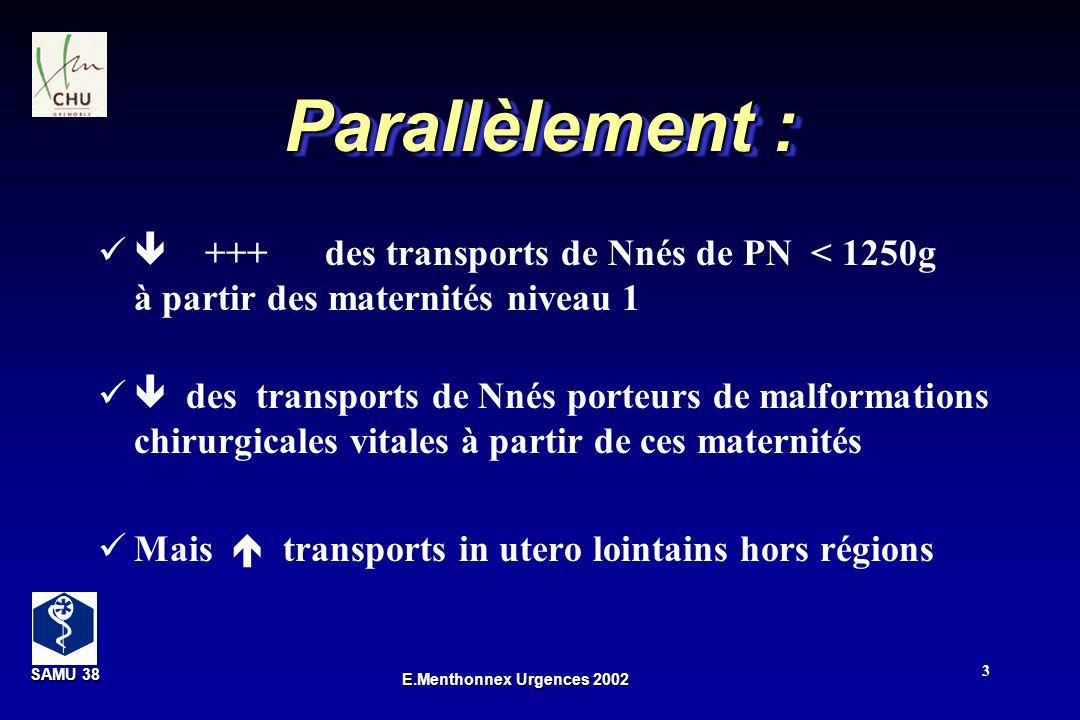 SAMU 38 SAMU 38 E.Menthonnex Urgences 2002 3 Parallèlement : +++ des transports de Nnés de PN < 1250g à partir des maternités niveau 1 des transports