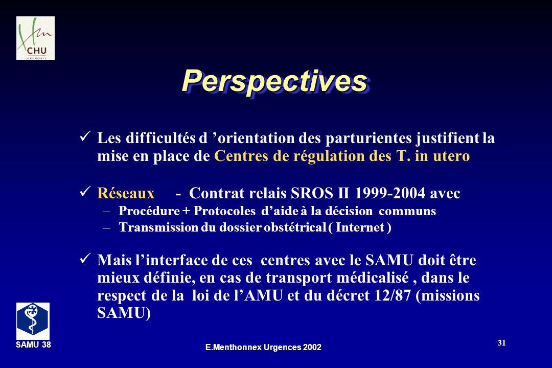 SAMU 38 SAMU 38 E.Menthonnex Urgences 2002 31 PerspectivesPerspectives Les difficultés d orientation des parturientes justifient la mise en place de C