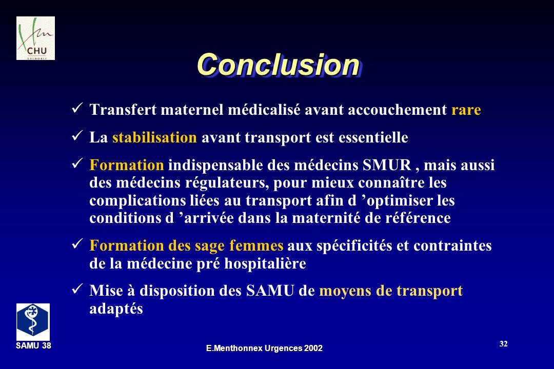 SAMU 38 SAMU 38 E.Menthonnex Urgences 2002 32 ConclusionConclusion Transfert maternel médicalisé avant accouchement rare La stabilisation avant transp