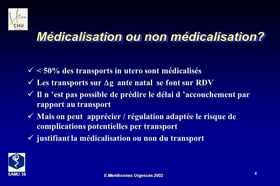 SAMU 38 SAMU 38 E.Menthonnex Urgences 2002 4 Médicalisation ou non médicalisation? < 50% des transports in utero sont médicalisés Les transports sur g