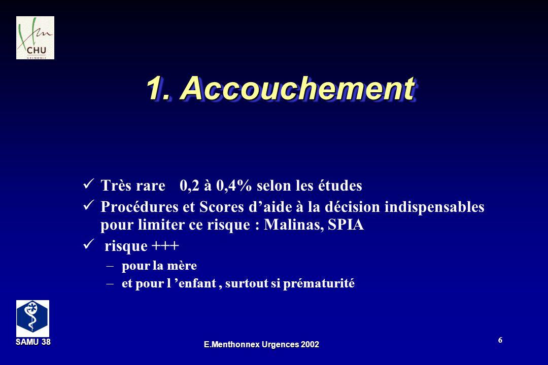 SAMU 38 SAMU 38 E.Menthonnex Urgences 2002 27 M.A.P : tocolyse Nicardipine (Loxen ® ) : 0,8 à 1,6 mg / h Béta mimétiques si échec nicardipine : titration +++ –Salbutamol 2,5 g/ min 45 g / min –Ritodrine (Prépar ® ) 100 g/min 350 g /min –Débit fonction de la tolérance et C.U tachycardie, vomissements, céphalées Atosiban ( Tractocile ® ) Eviter ex.