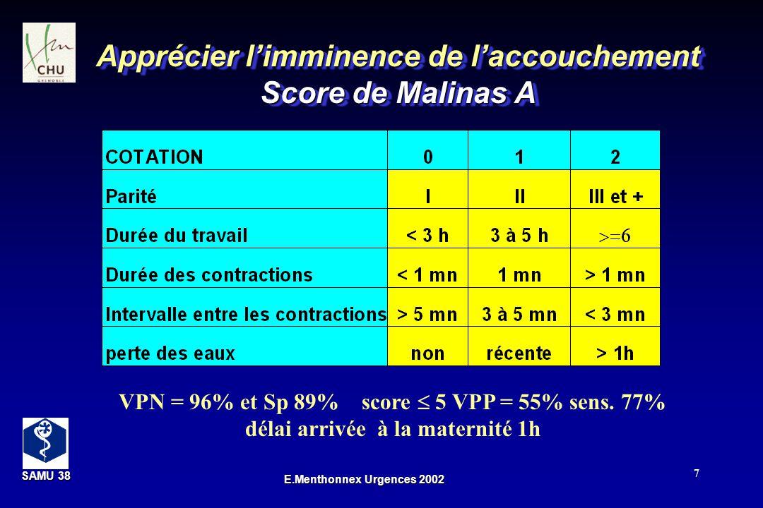 SAMU 38 SAMU 38 E.Menthonnex Urgences 2002 7 Apprécier limminence de laccouchement Score de Malinas A VPN = 96% et Sp 89% score 5 VPP = 55% sens. 77%