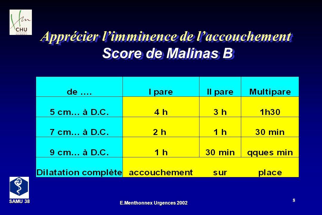 SAMU 38 SAMU 38 E.Menthonnex Urgences 2002 8 Apprécier limminence de laccouchement Score de Malinas B