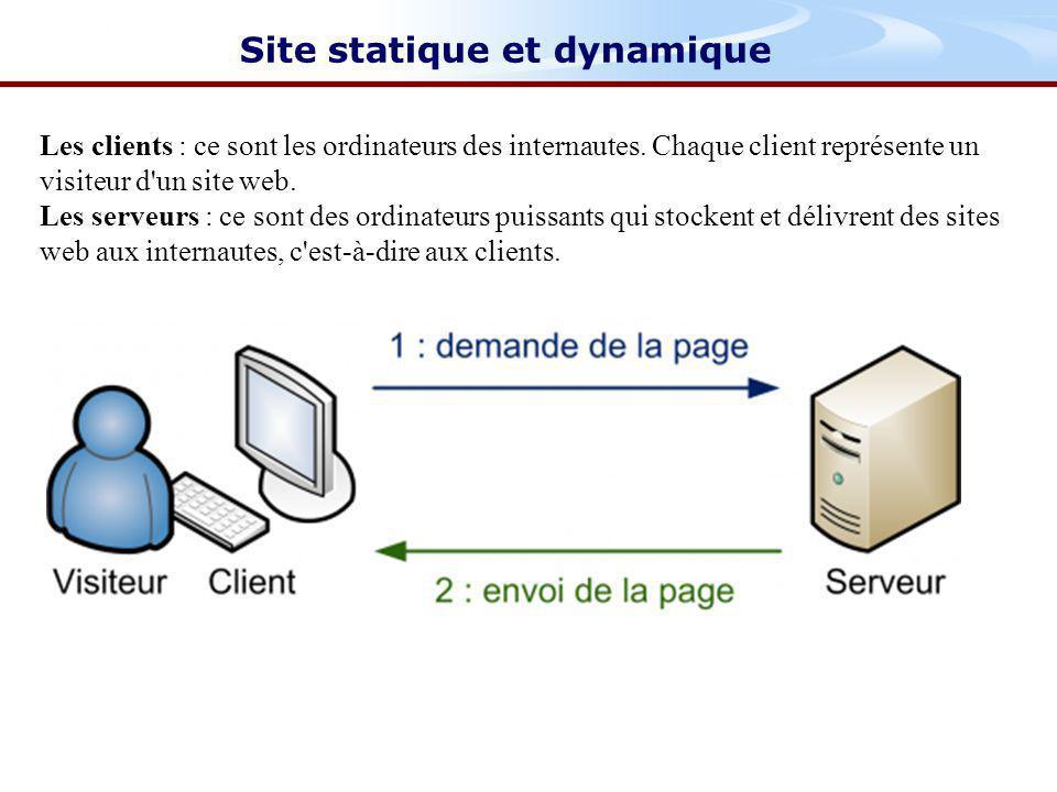 Site statique et dynamique Les clients : ce sont les ordinateurs des internautes.