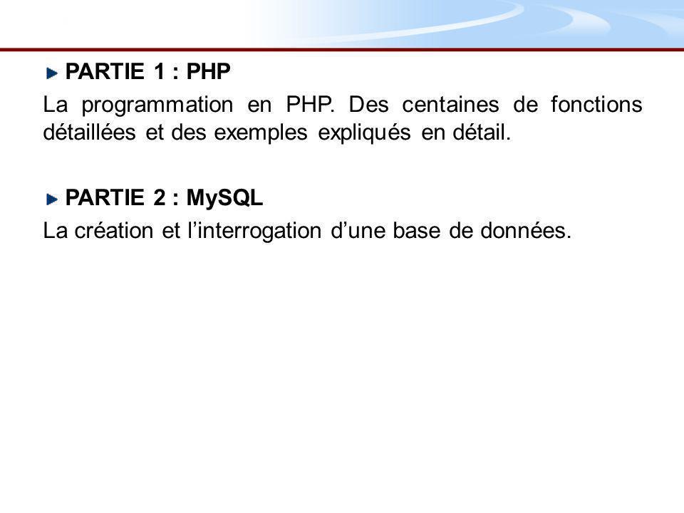 PHP* http://www.php.net http://www.phpinfo.net http://www.phpfrance.com http://www.developpez.com/php/ MySQL http://www.mysql.com/ http://dev.nexen.net/docs/mysql/ HTML http://cyberzoide.developpez.com/html/ Exemple concret http://www.miag-rezo.net * PHP Hypertext Preprocessor (encore un acronyme récursif !)