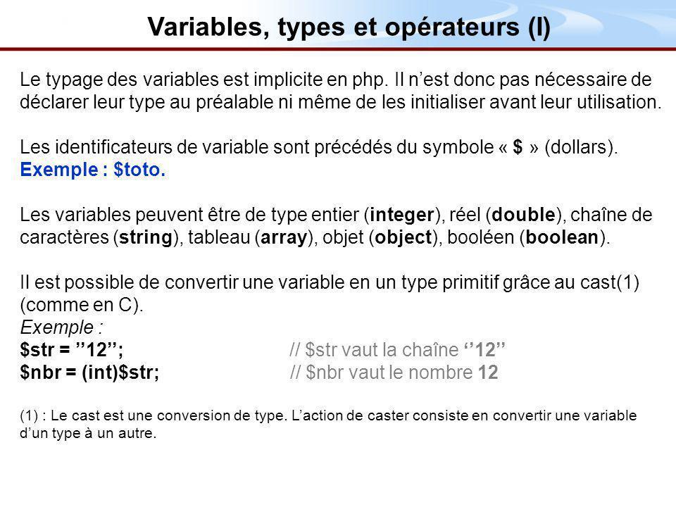 Le typage des variables est implicite en php.