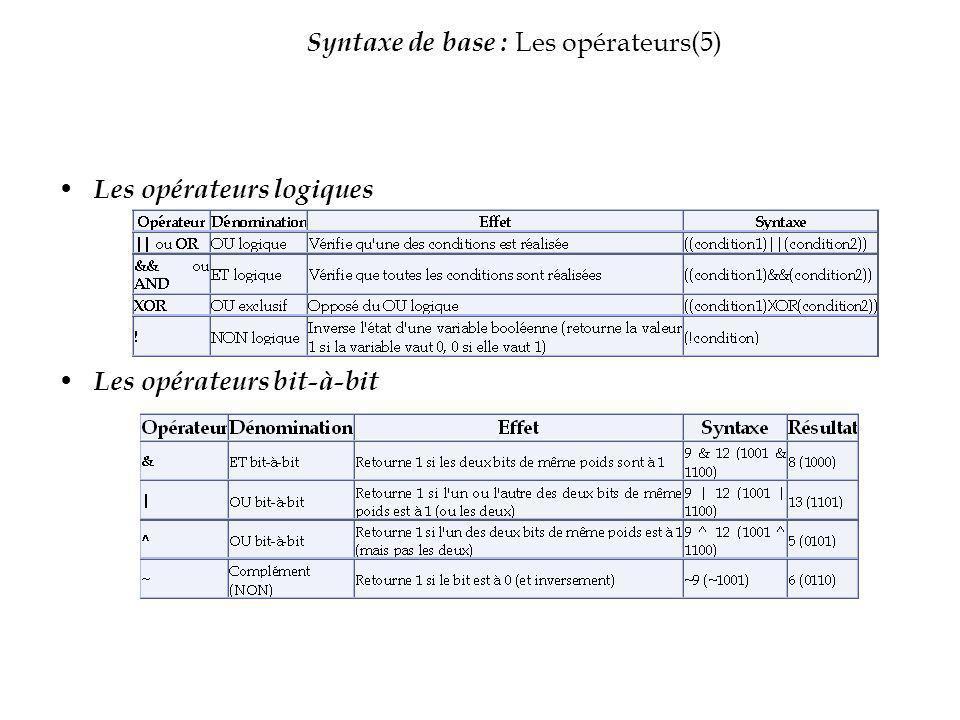 Syntaxe de base : Les opérateurs(5) Les opérateurs logiques Les opérateurs bit-à-bit
