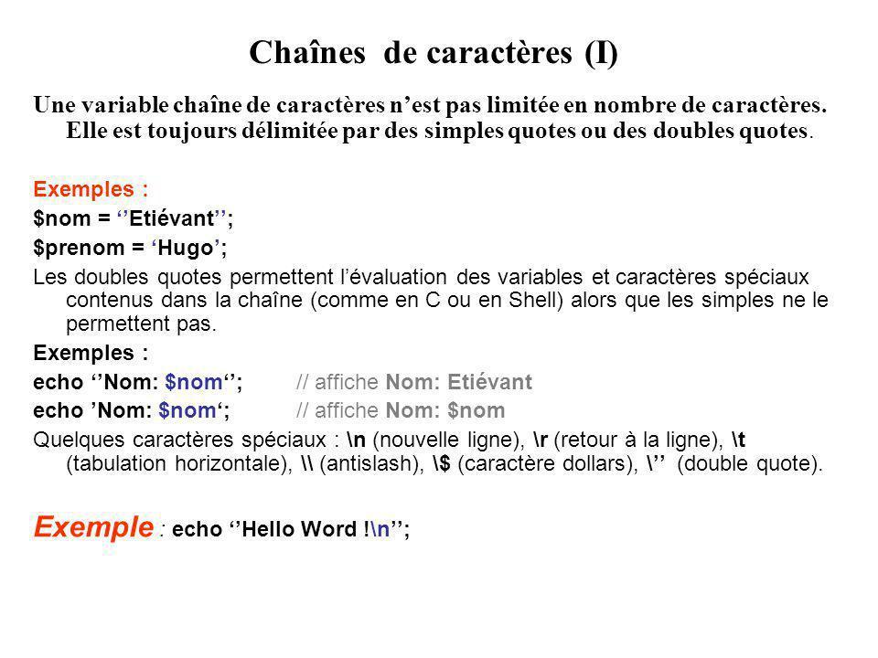 Chaînes de caractères (I) Une variable chaîne de caractères nest pas limitée en nombre de caractères.