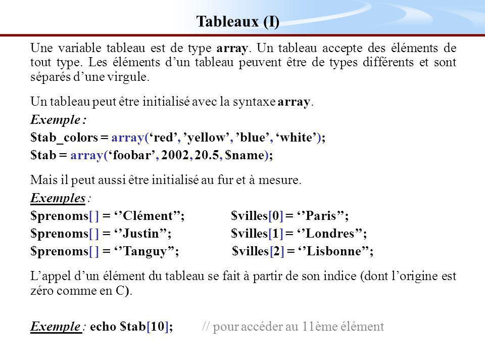 Tableaux (I) Une variable tableau est de type array.