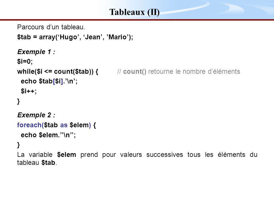 Tableaux (II) Parcours dun tableau.