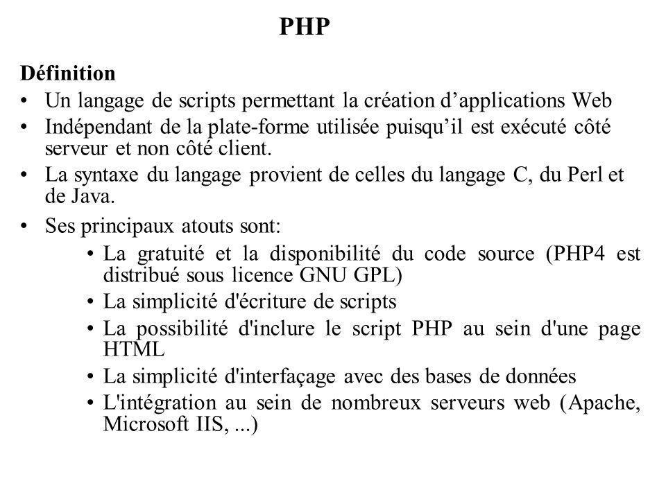 PHP Définition Un langage de scripts permettant la création dapplications Web Indépendant de la plate-forme utilisée puisquil est exécuté côté serveur et non côté client.