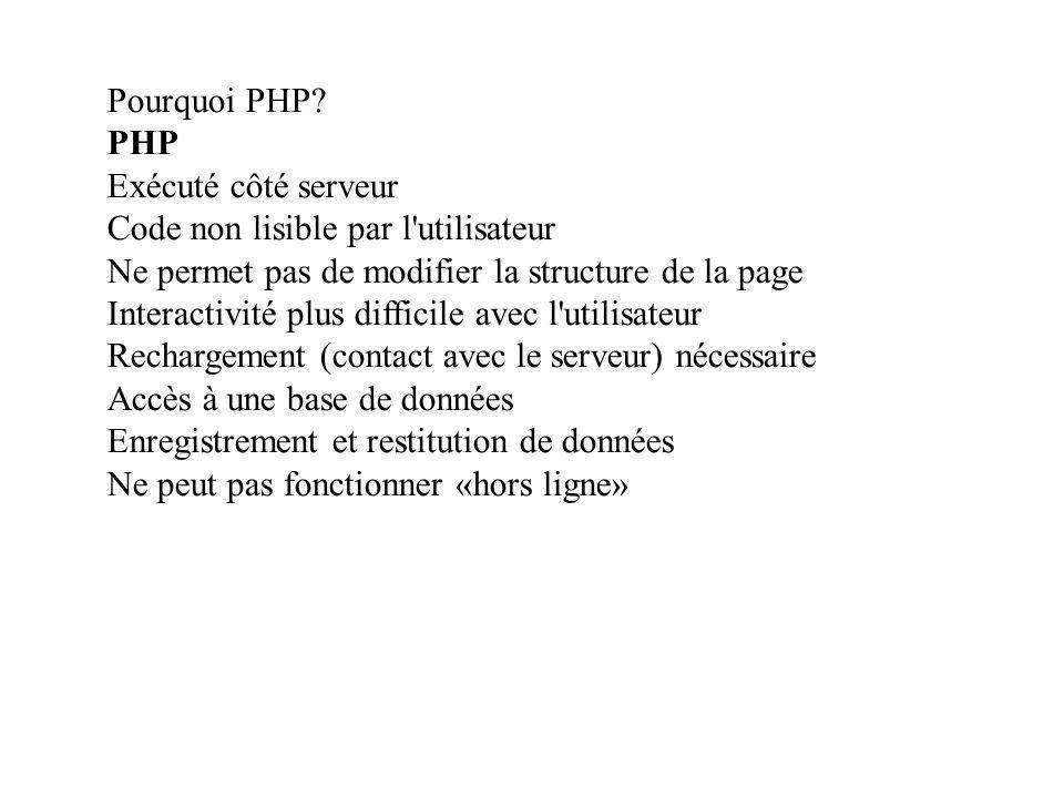 Mon premier script Exemple de script, code source (côté serveur) : <?php echo \n \n; echo Mon premier script \n; echo Bonjour\n; echo \n \n; ?> Autre écriture du même script : Résultat affiché par le navigateur : Code source (côté client) de la page essai.ph3 résultant du script