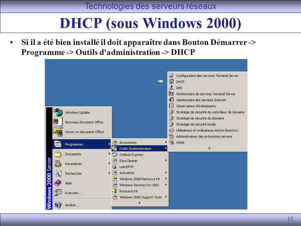 15 DHCP (sous Windows 2000) Si il a été bien installé il doit apparaître dans Bouton Démarrer -> Programme -> Outils d'administration -> DHCP Technolo
