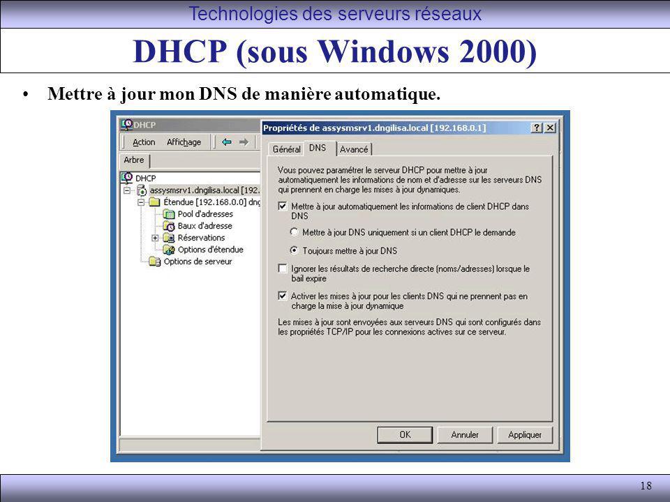 18 DHCP (sous Windows 2000) Mettre à jour mon DNS de manière automatique. Technologies des serveurs réseaux