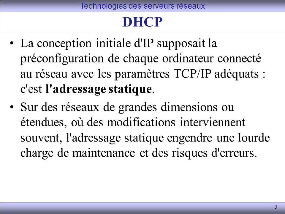 4 DHCP En outre les adresses assignées ne peuvent être utilisées même si l ordinateur qui la détient n est pas en service : un cas typique où ceci pose problème est celui des fournisseurs d accès à internet (FAI ou ISP en anglais), qui ont en général plus de clients que d adresses IP à leur disposition, mais dont tous les clients ne sont jamais connectés en même temps.