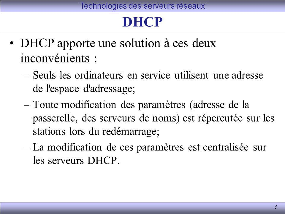 5 DHCP DHCP apporte une solution à ces deux inconvénients : –Seuls les ordinateurs en service utilisent une adresse de l'espace d'adressage; –Toute mo