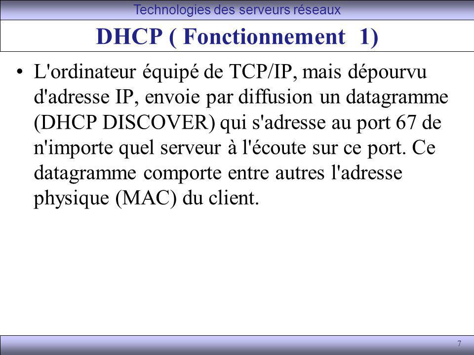 7 DHCP ( Fonctionnement 1) L'ordinateur équipé de TCP/IP, mais dépourvu d'adresse IP, envoie par diffusion un datagramme (DHCP DISCOVER) qui s'adresse