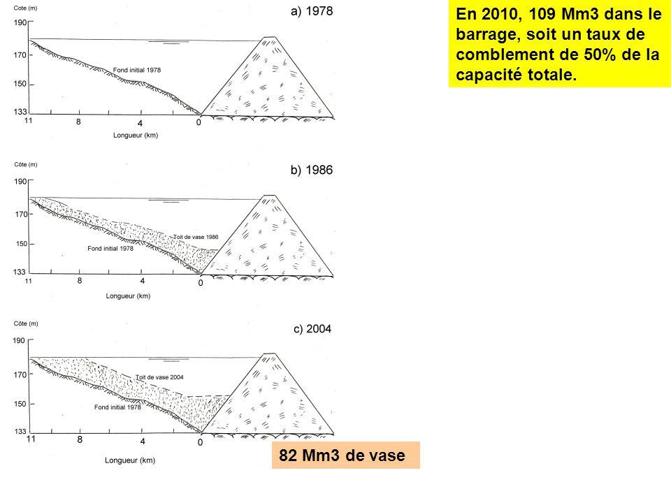 En 2010, 109 Mm3 dans le barrage, soit un taux de comblement de 50% de la capacité totale. 82 Mm3 de vase