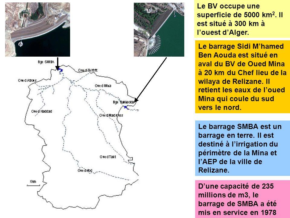 Le BV occupe une superficie de 5000 km 2. Il est situé à 300 km à louest dAlger. Le barrage Sidi Mhamed Ben Aouda est situé en aval du BV de Oued Mina