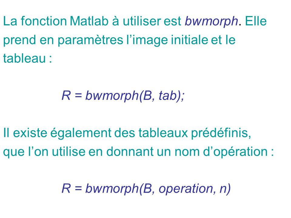 La fonction Matlab à utiliser est bwmorph. Elle prend en paramètres limage initiale et le tableau : R = bwmorph(B, tab); Il existe également des table