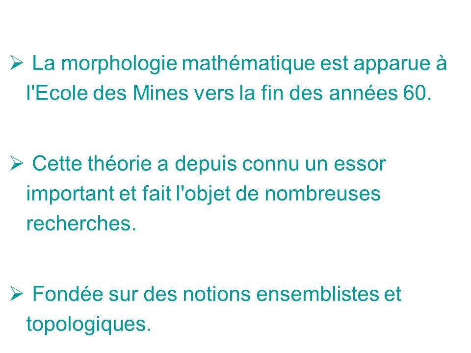 La morphologie mathématique est apparue à l'Ecole des Mines vers la fin des années 60. Cette théorie a depuis connu un essor important et fait l'objet