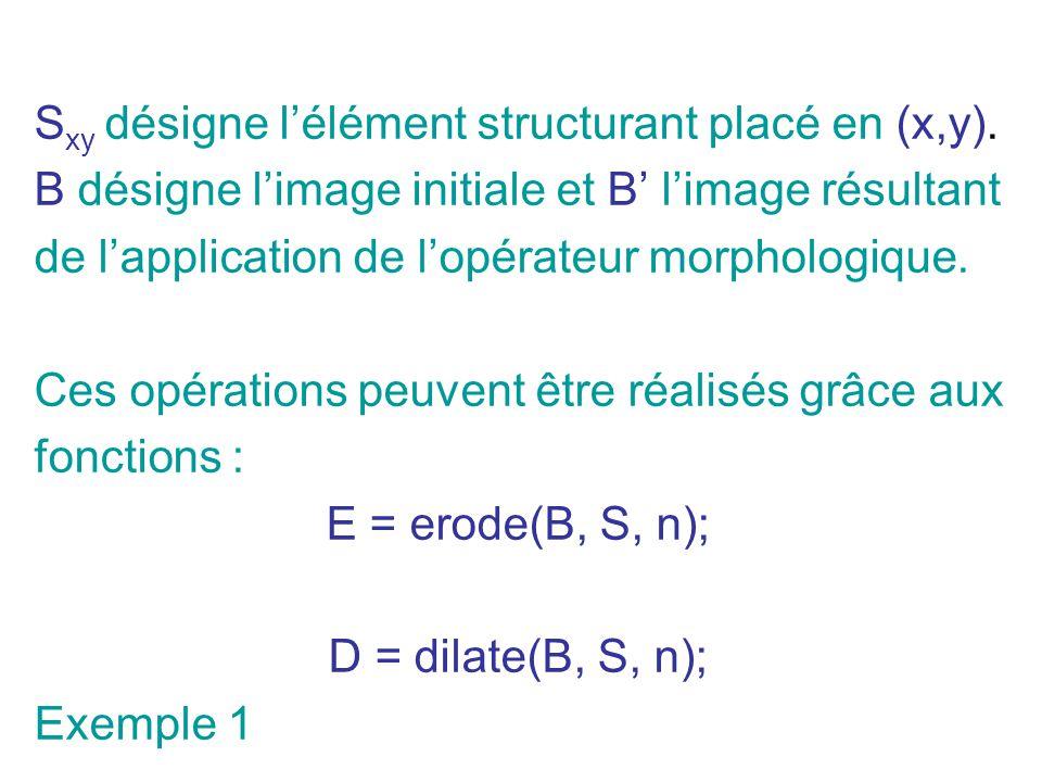S xy désigne lélément structurant placé en (x,y). B désigne limage initiale et B limage résultant de lapplication de lopérateur morphologique. Ces opé