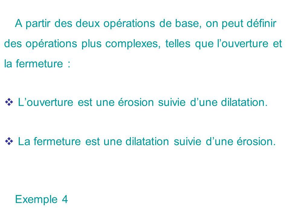 A partir des deux opérations de base, on peut définir des opérations plus complexes, telles que louverture et la fermeture : Louverture est une érosio