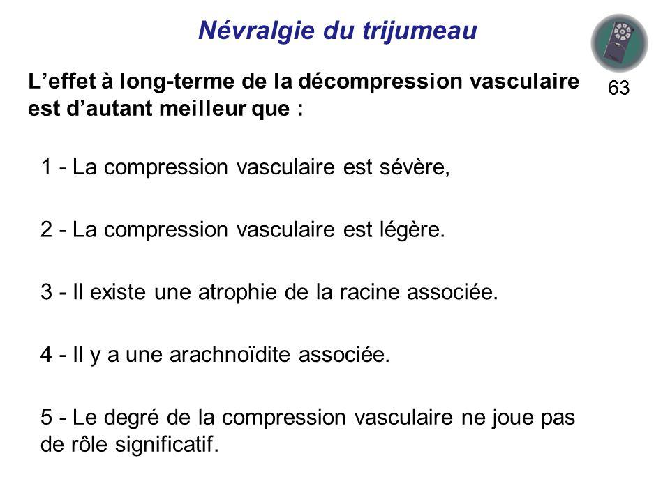 Leffet à long-terme de la décompression vasculaire est dautant meilleur que : 63 Névralgie du trijumeau 1 - La compression vasculaire est sévère, 2 - La compression vasculaire est légère.