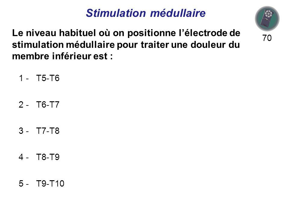Le niveau habituel où on positionne lélectrode de stimulation médullaire pour traiter une douleur du membre inférieur est : 70 1 - T5-T6 2 - T6-T7 3 - T7-T8 4 - T8-T9 5 - T9-T10 Stimulation médullaire