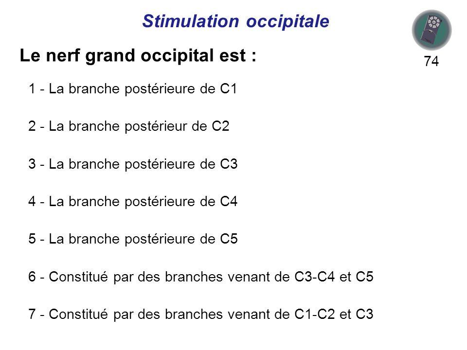 Le nerf grand occipital est : 74 Stimulation occipitale 1 - La branche postérieure de C1 2 - La branche postérieur de C2 3 - La branche postérieure de C3 4 - La branche postérieure de C4 5 - La branche postérieure de C5 6 - Constitué par des branches venant de C3-C4 et C5 7 - Constitué par des branches venant de C1-C2 et C3