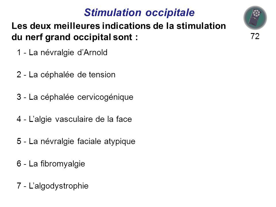 Les deux meilleures indications de la stimulation du nerf grand occipital sont : 72 Stimulation occipitale 1 - La névralgie dArnold 2 - La céphalée de tension 3 - La céphalée cervicogénique 4 - Lalgie vasculaire de la face 5 - La névralgie faciale atypique 6 - La fibromyalgie 7 - Lalgodystrophie