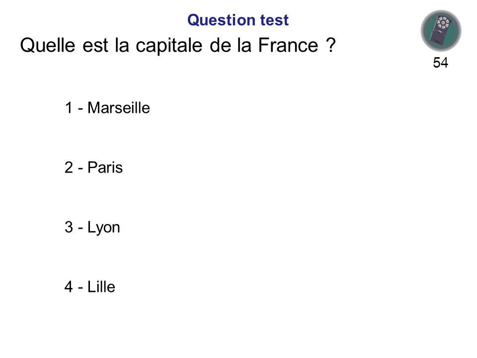 Quelle est la capitale de la France .