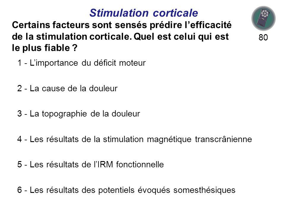Certains facteurs sont sensés prédire lefficacité de la stimulation corticale.