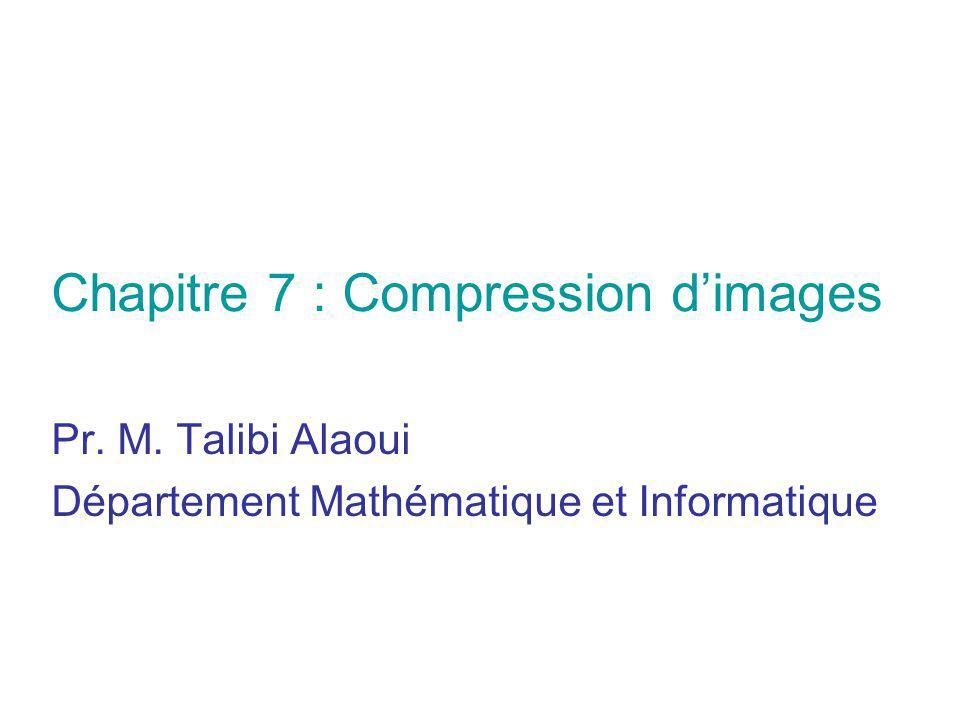 Pr. M. Talibi Alaoui Département Mathématique et Informatique Chapitre 7 : Compression dimages