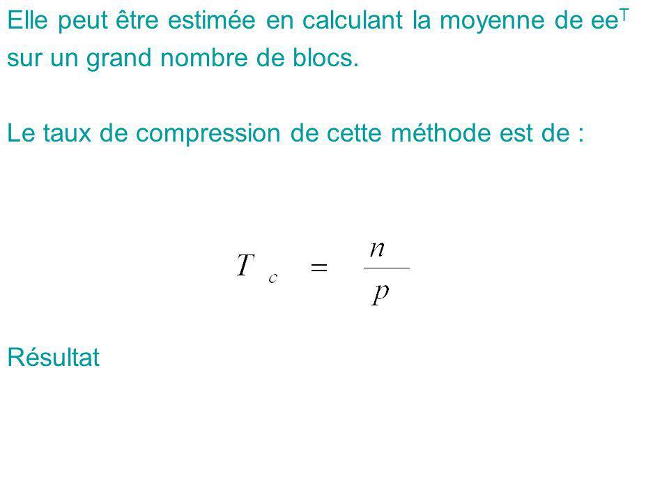 Elle peut être estimée en calculant la moyenne de ee T sur un grand nombre de blocs. Le taux de compression de cette méthode est de : Résultat