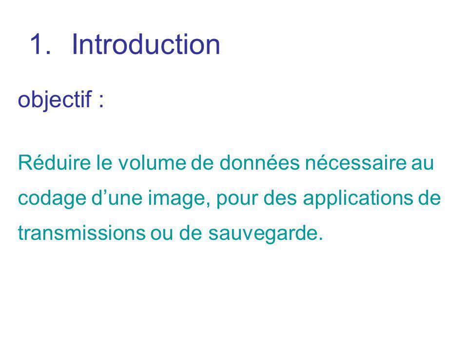 1.Introduction objectif : Réduire le volume de données nécessaire au codage dune image, pour des applications de transmissions ou de sauvegarde.