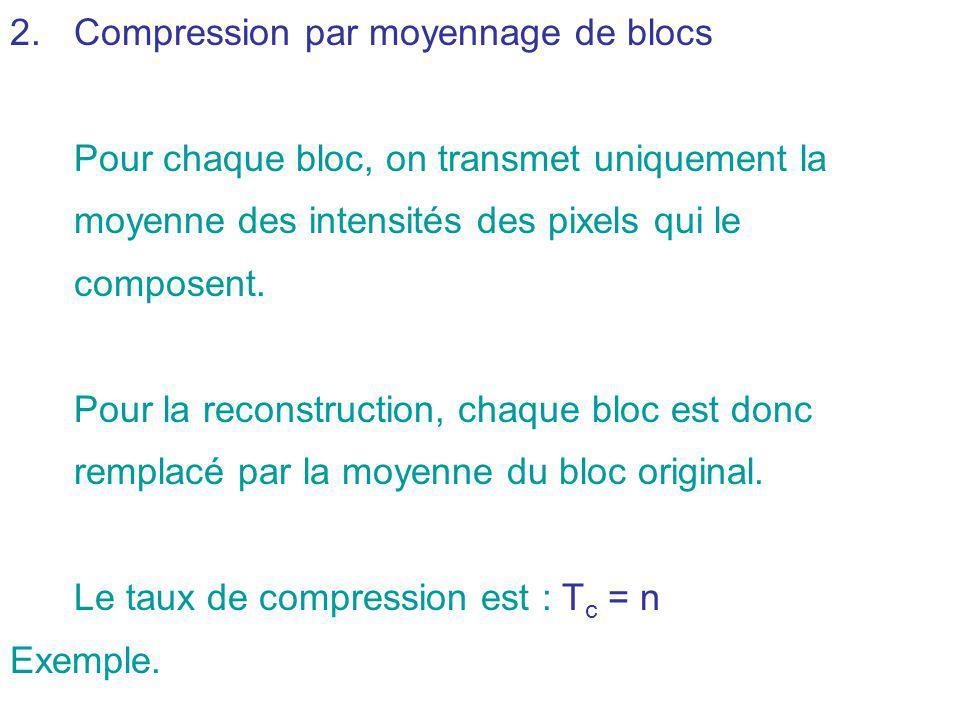 2.Compression par moyennage de blocs Pour chaque bloc, on transmet uniquement la moyenne des intensités des pixels qui le composent. Pour la reconstru