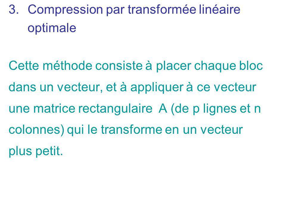 3.Compression par transformée linéaire optimale Cette méthode consiste à placer chaque bloc dans un vecteur, et à appliquer à ce vecteur une matrice r