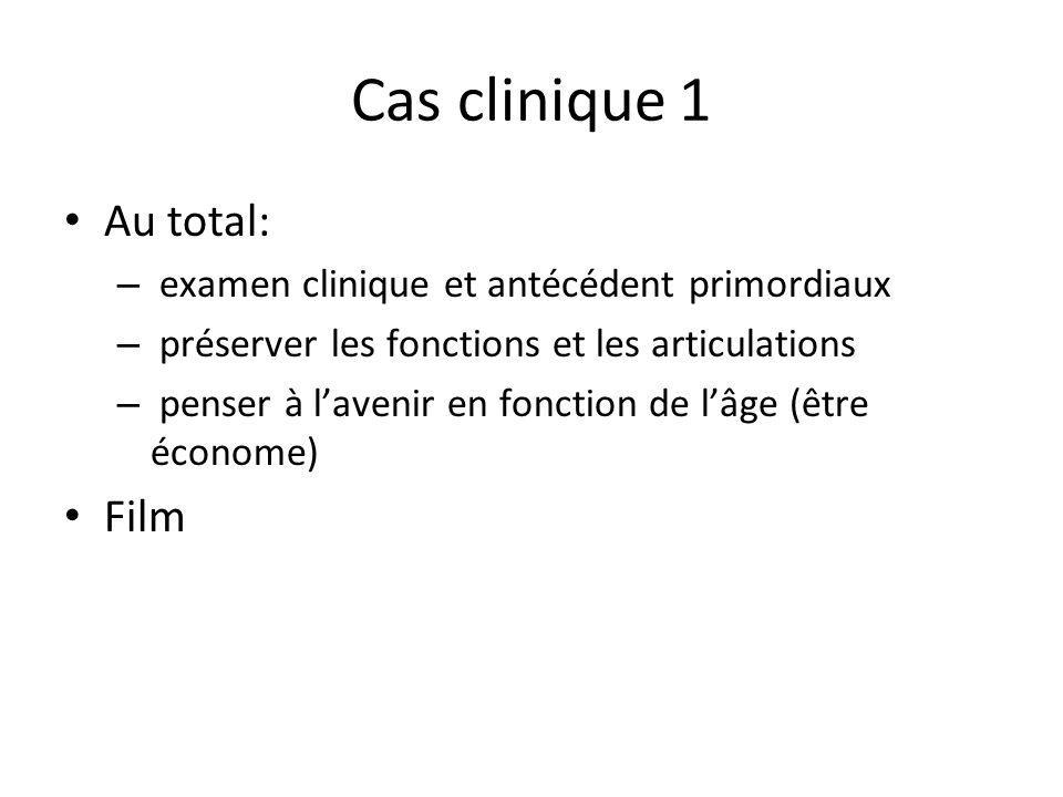 Cas clinique 1 Au total: – examen clinique et antécédent primordiaux – préserver les fonctions et les articulations – penser à lavenir en fonction de