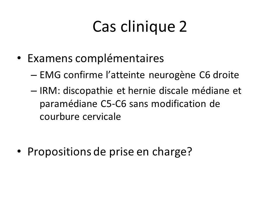 Cas clinique 2 Examens complémentaires – EMG confirme latteinte neurogène C6 droite – IRM: discopathie et hernie discale médiane et paramédiane C5-C6